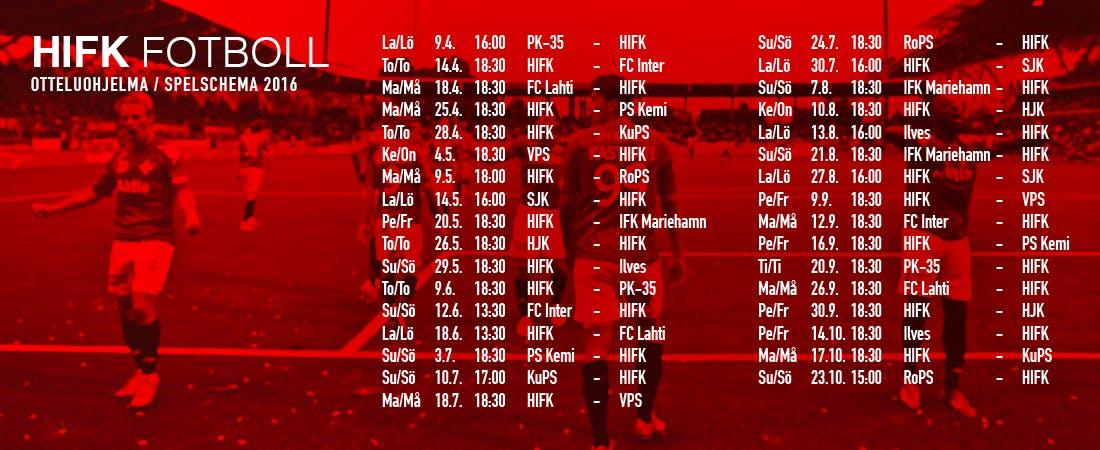 Kauden ensimmäinen kotiottelu Veikkausliigassa pelataan Sonera Stadiumilla torstaina 14.4. kello 18.30, kun HIFK kohtaa FC Interin.